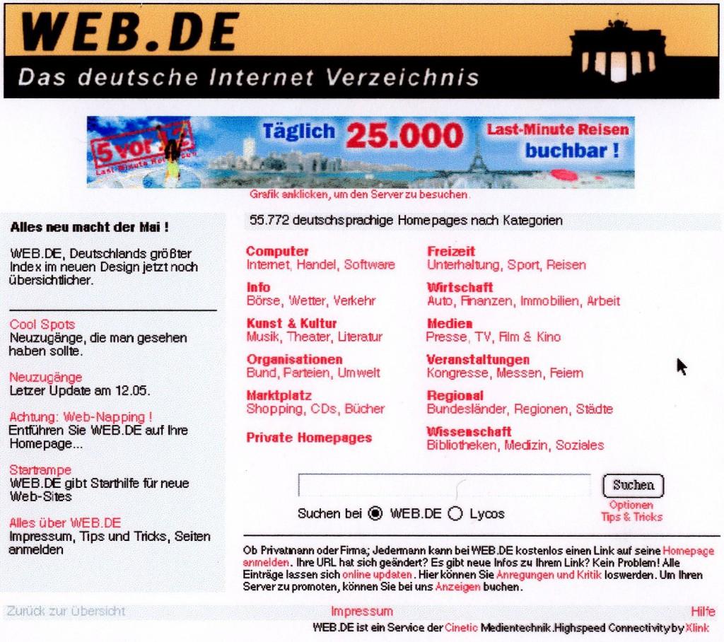 So sah WEB.DE in den Anfangsjahren aus. Ein Screenshot zeigt die Hompage im Jahr 1997. (c) WEB.DE
