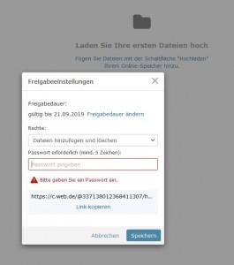 Ordner im Online-Speicher lassen sich für andere auch zum Bearbeiten freigeben. (c) WEB.DE