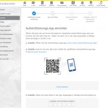 Der QR-Code wird mit der OTP App gescannt.