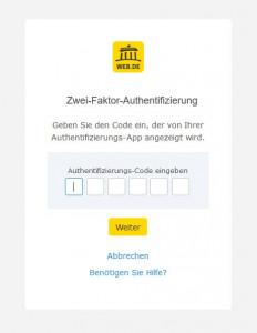 Ist die 2FA fürs WEB.DE Konto aktiviert, ist beim Login zusätzlich zum Passwort ein 6-stelliger Code fällig. (c) WEB.DE