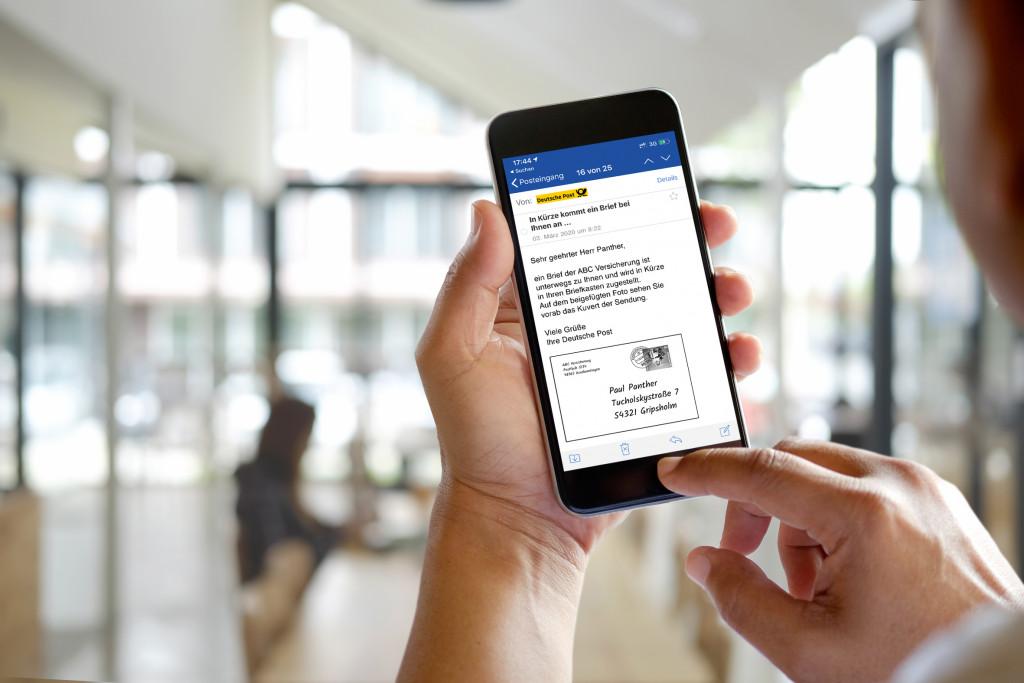 Die Briefankündigung kommt auch im mobilen Postfach an. (c) DPAG