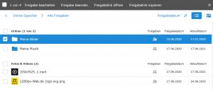 In der Freigabeübersicht kann man alle freigegebenen Ordner und Dateien einsehen und bequem verwalten.