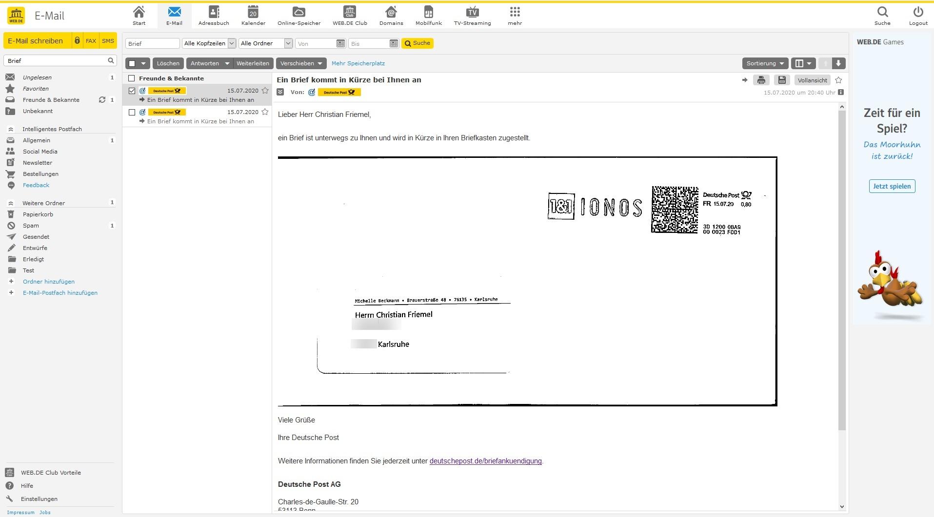 Wiederherstellen gmx gelöschte e-mail anhänge Im Papierkorb